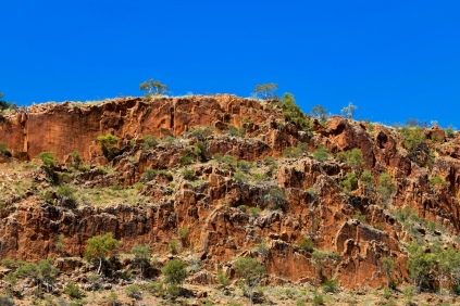 Rock formations of the West Macdonnell Range near Glen Helen Gorge