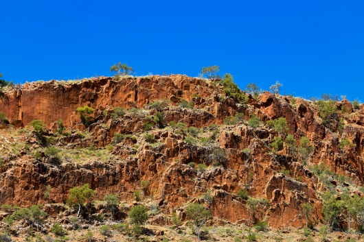 Rock formations of the West Macdonnell Range near Glen Helen Gorge